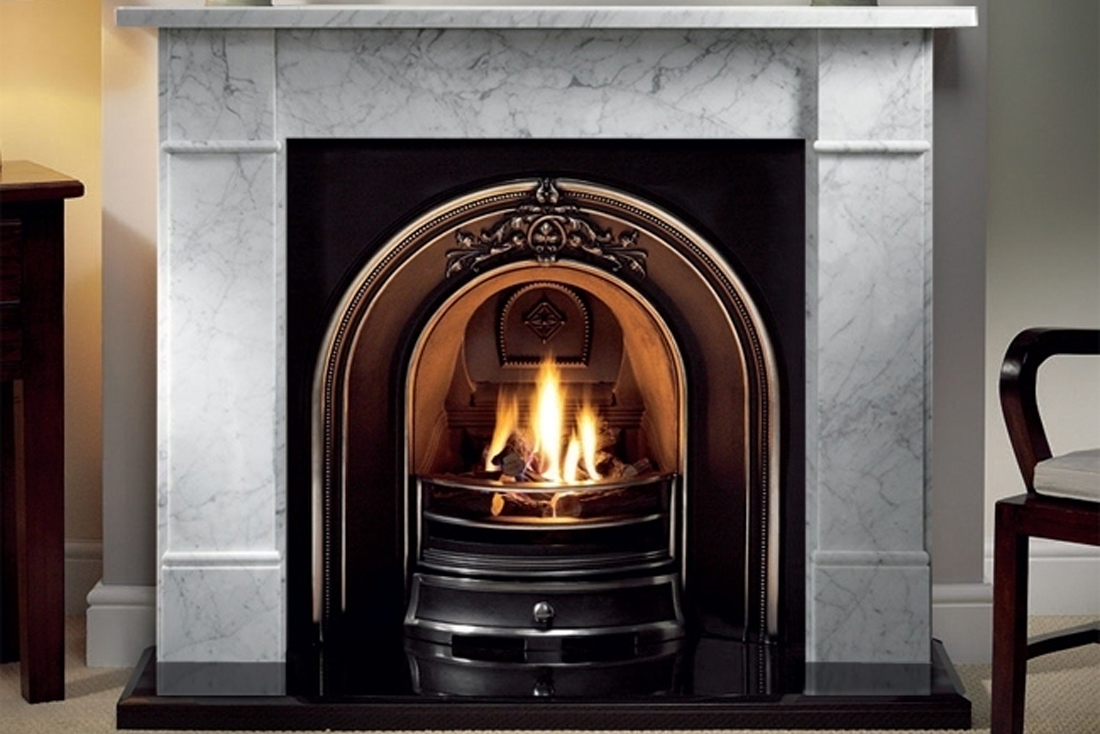 Gallery Brompton Carrara marble fireplace with cast iron solid fuel