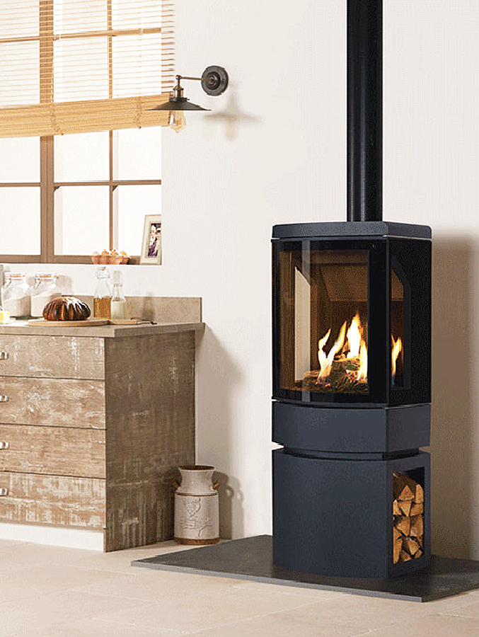 Gazco Loft Gas Stove with Steel Graphite Log Store
