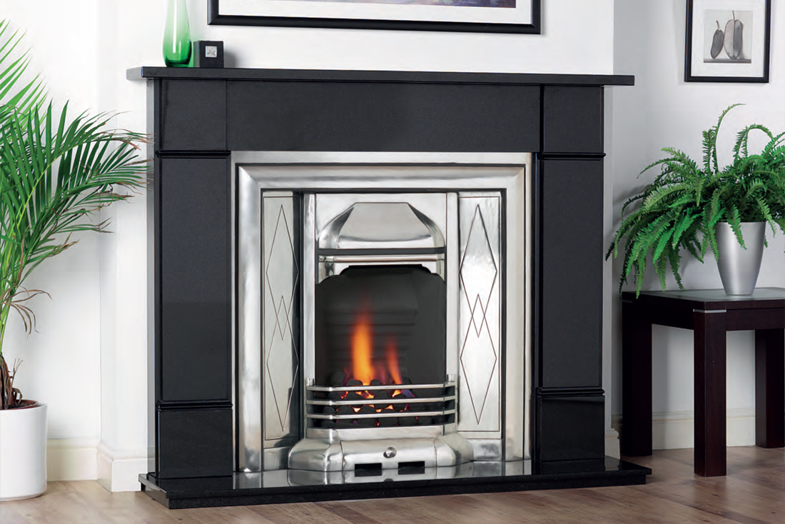 Cast Tec Jesmond Full Polished insert with Granite Surround Solid Fuel