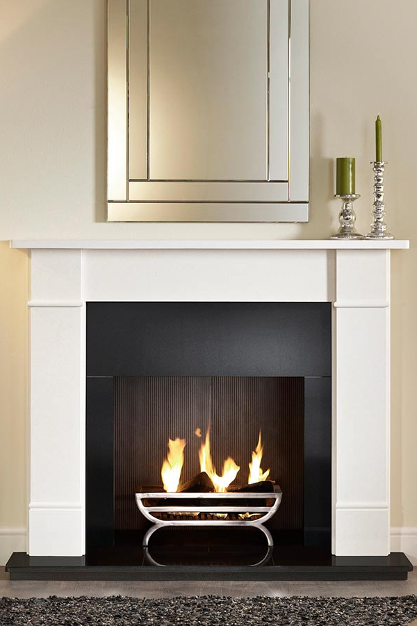 Gallery Brompton limestone fireplace with large cradle fire basket